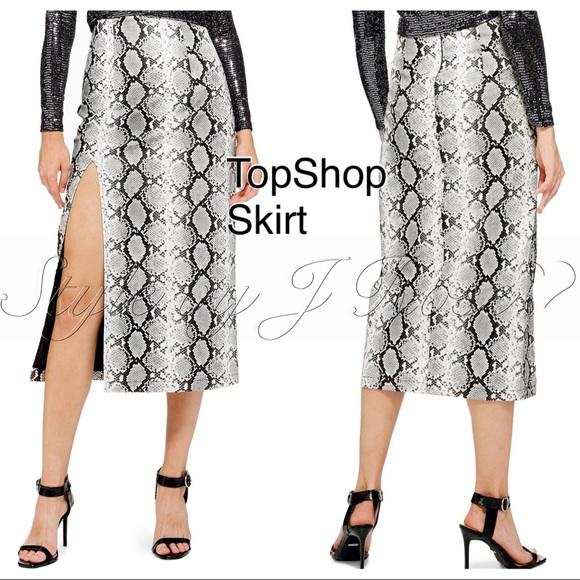 42111d57c4 NWT's Topshop Snake print Midi Skirt w/High Slit. Listing Price: $40.00